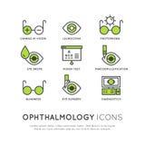Oftalmologisjukvård, medicinsk diagnos vektor illustrationer