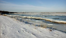 Oftentimes in winter freezing Volga makes it difficult because o stock photography