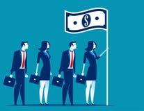 Ogólnospołeczny kapitalizm Lider biznesu mienia flaga Pojęcie biznesowa wektorowa ilustracja ilustracji