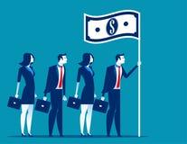 Ogólnospołeczny kapitalizm Lider biznesu mienia flaga Pojęcie biznesowa wektorowa ilustracja royalty ilustracja
