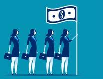 Ogólnospołeczny kapitalizm Lider biznesu mienia flaga Pojęcie biznesowa wektorowa ilustracja ilustracja wektor