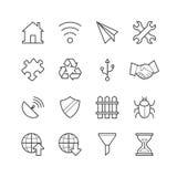 Ogólna strona internetowa & wiszących ozdób podaniowe ikony - Wektorowa ilustracja, Kreskowe ikony ustawiać Zdjęcia Royalty Free