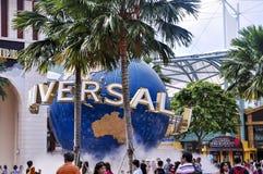 Ogólnoludzka kula ziemska Universal Studios Singapur jest parkiem tematycznym lokalizować wśród kurortów Światowy Sentosa na Sent zdjęcia royalty free