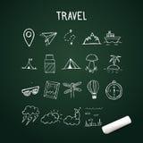 Ogólnoludzki Ustawiający Wektorowe Doodle ikony, podróży doodle protestuje na chalkboard Fotografia Royalty Free