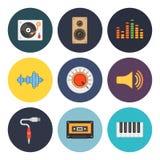 9 ogólnoludzkiego mieszkania muzyki ikon Zdjęcia Stock