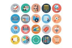 Ogólnoludzkiego sieci mieszkania Barwione ikony 4 ilustracja wektor