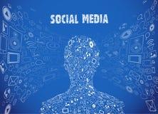 Ogólnospołeczna medialna ilustracja ilustracji