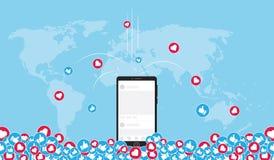 Ogólnospołeczna medialna marketing zawartość wirusowa dookoła świata Zdjęcia Royalty Free