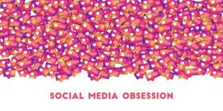 Ogólnospołeczna medialna obsesja Ogólnospołeczne medialne ikony w abstrakcjonistycznym kształta tle z gradientu kontuarem obrazy royalty free