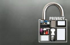 Ogólnospołeczna medialna prywatności pojęcia kłódka Obraz Royalty Free