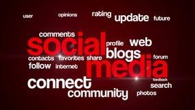 Ogólnospołeczna medialna tło teksta 4K czerwień zbiory wideo