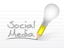 Ogólnospołeczna medialna wiadomość pisać z żarówka ołówkiem ilustracja wektor