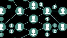 Ogólnospołeczna podłączeniowa animacja Ikony ludzie łączący grupa na czarnym tle ilustracji