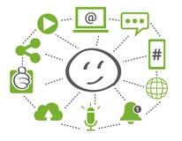 Ogólnospołeczna sieć łączył symbole dla cyfrowego, interaktywnego, i gl ilustracja wektor