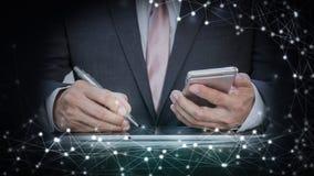 Ogólnospołeczna sieć, globalizacja biznes abstrakcjonistyczny technologii tło i biznesowy mężczyzna Obrazy Stock