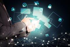 Ogólnospołeczna sieć, globalizacja biznes abstrakcjonistyczny technologii tło i biznesowy mężczyzna Zdjęcie Royalty Free