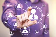 Ogólnospołeczna sieć interfejsu biznesmena komunikaci ikona Obrazy Royalty Free