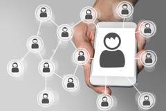 Ogólnospołeczna sieć na urządzenia przenośnego pojęciu lubi smartphone royalty ilustracja