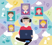 Ogólnospołeczna sieć (płaski pojęcie) Zdjęcia Stock