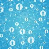 Ogólnospołeczna sieć. W kratownicie punkty są ludźmi ikon Zdjęcia Royalty Free