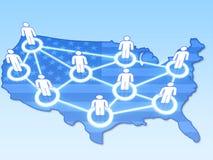 Ogólnospołeczna sieć w usa pojęciu 3D Obrazy Royalty Free