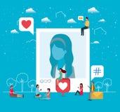 Ogólnospołeczna społeczność z kobieta profilu obrazkiem ilustracji