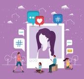 Ogólnospołeczna społeczność z kobieta profilu obrazkiem ilustracja wektor