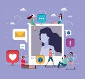 Ogólnospołeczna społeczność z kobieta profilu obrazkiem royalty ilustracja