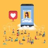 Ogólnospołeczna społeczność z smartphone ilustracji