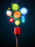 Ogólnospołeczne medialne ikony przychodzi z elektrycznego kabla Obraz Royalty Free