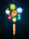 Ogólnospołeczne medialne ikony przychodzi z elektrycznego kabla Zdjęcia Royalty Free