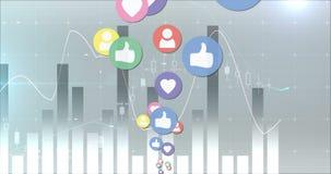 Ogólnospołeczne medialne ikony rusza się 4k ilustracji