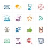 Ogólnospołeczne Medialne ikony Ustawiają 1 - Barwione serie Obrazy Royalty Free