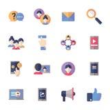 Ogólnospołeczne Medialne ikony Ustawiają 1 - Płaskie serie Zdjęcie Royalty Free
