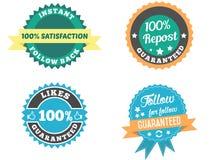 Ogólnospołeczne medialne odznaki ustawiać Sto procentów podąża z powrotem gwarantowanego Royalty Ilustracja