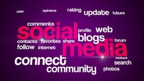 Ogólnospołeczne medialne tło teksta 4K purpury royalty ilustracja