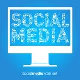 Ogólnospołeczne medialne wektorowe ikony royalty ilustracja