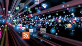 Ogólnospołeczne sieci ikony latają, błyszczą,