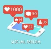 Ogólnospołeczne sieci ikony w smartphone powiadomienia wiązki komunikacyjne pojęcia rozmowy ma środki zaludniają socjalny royalty ilustracja