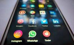Ogólnospołeczne sieci powszechnie używany dla komunikacj, datowanie, biznesy Zdjęcia Royalty Free