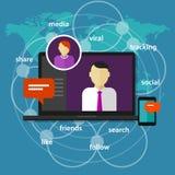 Ogólnospołecznego medialnego kierownika zarządzania administratora pojęcia światowej mapy laptopu ekranu przyrządu komunikacyjny  ilustracji