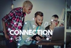 Ogólnospołecznego networking technologii komunikacyjnej Globalny związek Co Fotografia Royalty Free