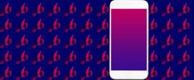 Ogólnospołecznego zobowiązania rezultata pojęcia z kciukiem w górę ręki i smartphone z czerń ekranem dużo barwią zdjęcie royalty free