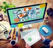 Ogólnospołecznej Medialnej Początkowej strategii technologii Planistyczny pojęcie obrazy stock
