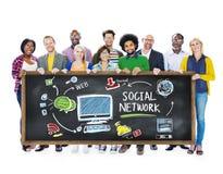 Ogólnospołecznej sieci środków edukaci uczenie pojęcia Ogólnospołeczni ludzie Obrazy Stock
