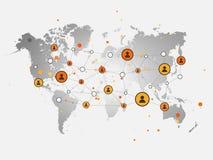 Ogólnospołecznej sieci projekta pojęcia Wektorowa ilustracja z pieniądze Tra Obrazy Royalty Free