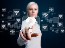Ogólnospołecznej sieci Wifi guzika pytania biznesowa ikona Fotografia Royalty Free