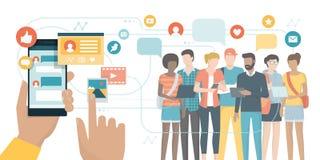 Ogólnospołeczni środki app i ogólnospołeczne sieci ilustracji