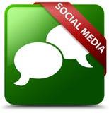 Ogólnospołeczni środki gawędzą bąbel ikony zieleni kwadrata guzika Zdjęcie Royalty Free