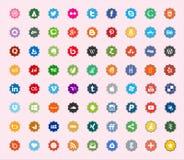Ogólnospołeczni środki i sieć koloru mieszkania ikony Zdjęcie Stock